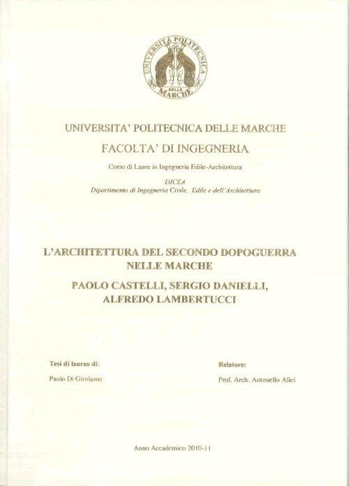 La tesi di laurea di paolo di girolamo ripercorre lo sviluppo dell